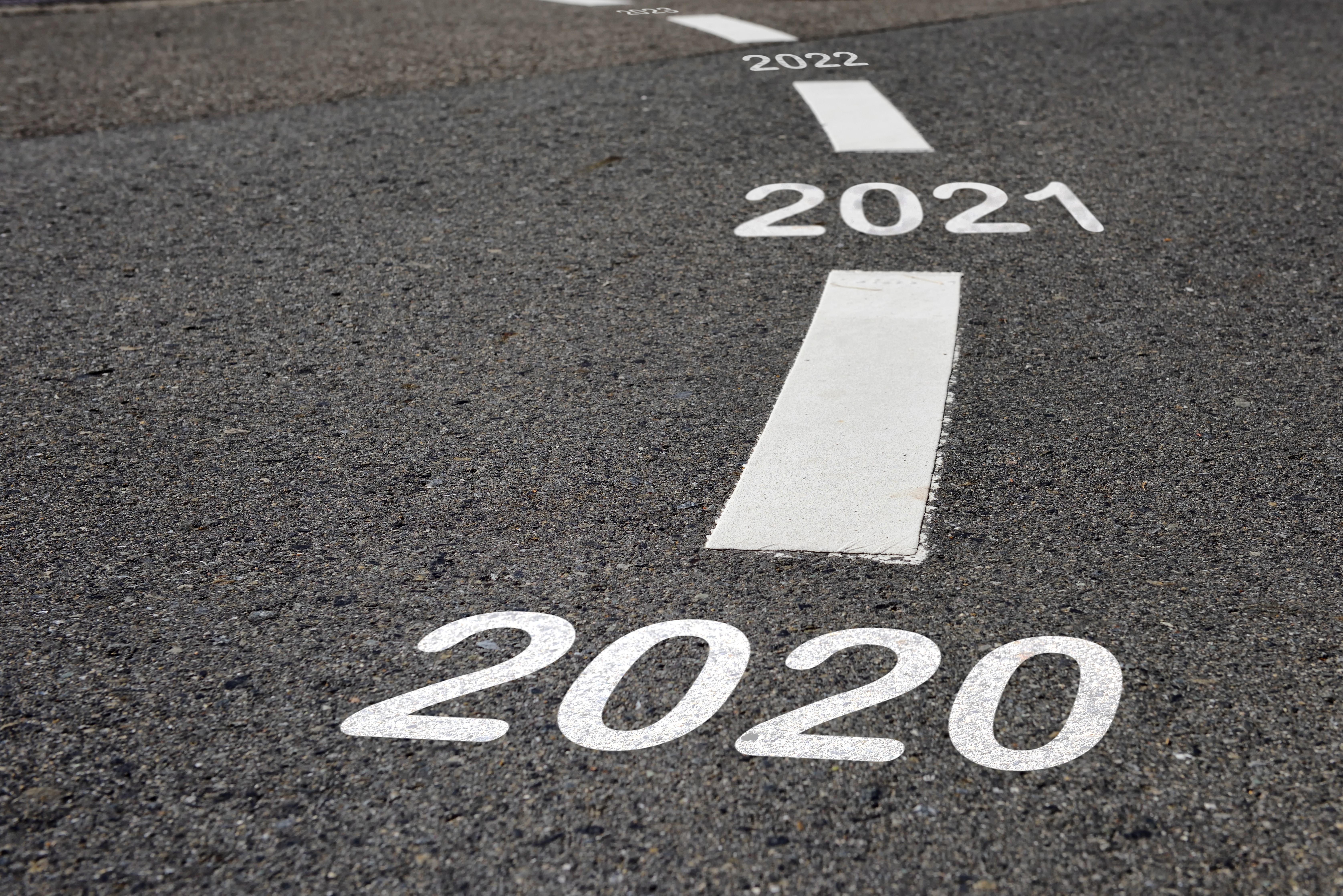Happy new year 2020 to 2022 and road to success concept